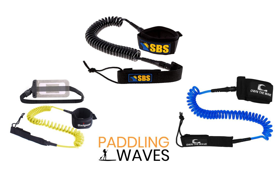 AQUARM SUP Leash 8//10 feet Coiled Premium Stand Up Paddle Board Leash Stay on Board Ankle Strap,Choose Colors